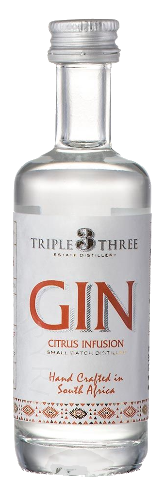 TRIPLE THREE GIN CITRUS INFUSION MINIATUR, 0,05L, 43%Vol.