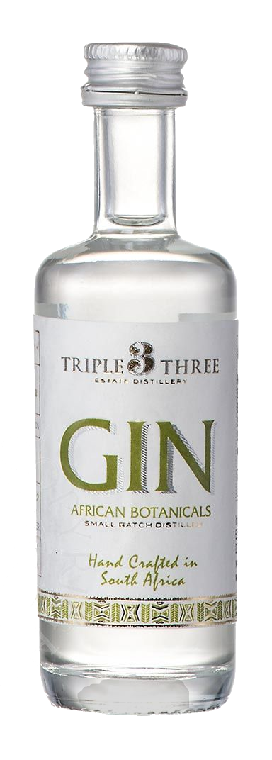 TRIPLE THREE GIN AFRICAN BOTANICALS MINIATUR, 0,05L, 43%Vol.